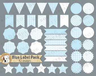Blue label clipart vector baby shower clipart pennant flags blue polka dot frames stars digital labels round ribbon banners commercial use