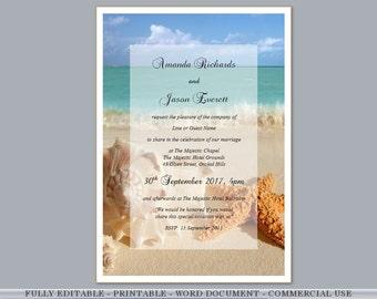 Printable Wedding Invite DIY Engagement Invitations Beach Tropical Hawaii Shells Invite Night Editable Template Download Free RSVP Gift Card