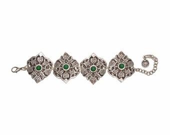 Boho Tribal Gypsy Bracelet-Bohemian Bracelet-Boho Jewelry-Silver Bangle-Large Bangle Bracelet-Boho Bracelet-Silver Plated Bracelet