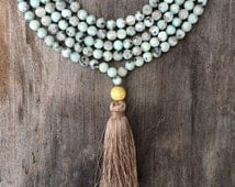 Long Beaded Tassel Double Wrap Choker Necklace with Pastel Green Blue Tianshen Spotted Beads
