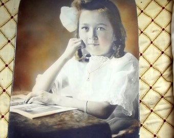 1900s Hand Colored  Large Photo Portrait of Girl