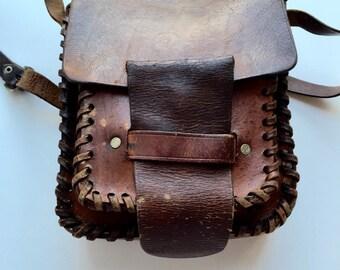 Vintage Leather Hand Made Shoulder Bag.