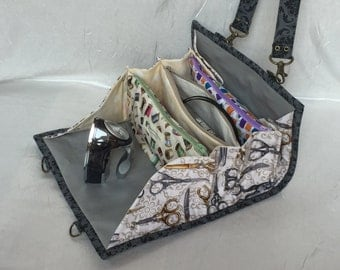 Small sewing clutch with detachable shoulder strap, 3 zippered pockets and 2 magnetic invisible snaps