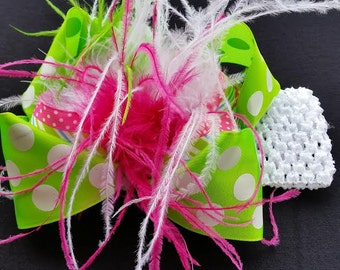 "5.5"" Over the Top Green w/ White Polka Dots Stacked Boutique Hair Bow on a White Crochet Headband"