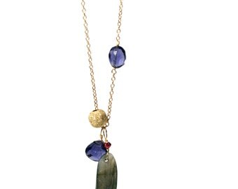 Labradorite and Iolite Cluster Gem Necklace