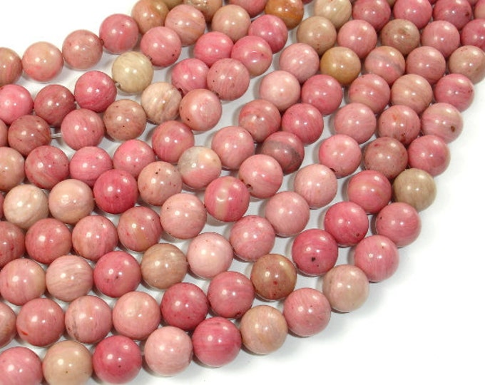 Rhodonite Beads, 8mm ( 8.6 mm) Round Beads, 15.5 Inch, Full strand, Approx 46 beads, Hole 1 mm, A quality (386054009)