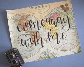 Come Away with Me Large Wall World Map Art