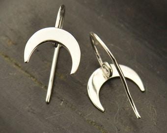 Sterling Silver, Crescent, Hook Earrings, Hidden Loop, Crescent Moon, Crescent Earrings, Silver Hook Earrings, Earring Component