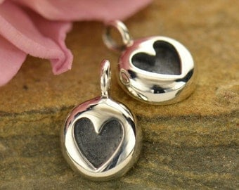 Sterling Silver, Thai Cast, Heart Charm, Thai Cast Charm, Heart Jewelry, Embossed Heart, Silver Thai Cast, Silver Heart, Love Jewelry
