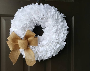 White Wreath - Shabby Wreath- Burlap Bow Wreath - Burlap Wreath - Wedding Wreath - Muslin Wreath - Burlap Muslin Wreath - Housewarming Gifts