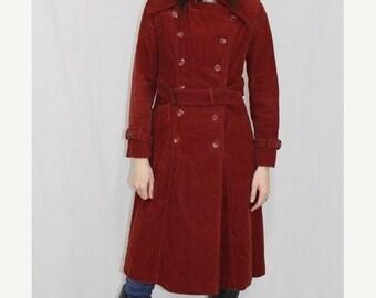On Sale Vintage 70s Rust CORDUROY Spy TRENCH Pea Coat Jacket Hippie Boho S