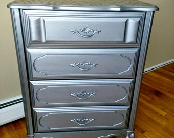 French Provincial Highboy Dresser, Tall Chest of Drawers in Metallic Silver and Black Zebra Print