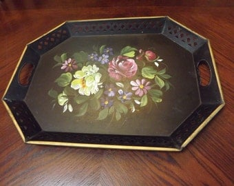 Gorgeous Black Signed Metal Rosemaling Floral Serving Tray
