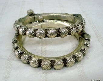 Vintage antique tribal old silver bangle bracelet pair belly dance jewellery