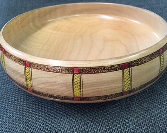 Decorated Maple Bowl