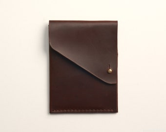 Slim Leather Wallet with Brass Stud Closure in Brown Horween Chromexcel Leather // Front Pocket Wallet // The Button Fold