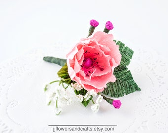 Wedding boutonniere,Prom boutonniere, Poppy boutineer, prom flowers, wedding flowers, groomsmen boutonniere, boutonniere,wedding boutineer