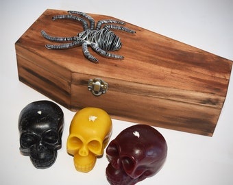 Wood Spider Coffin with 3 Scented Candles
