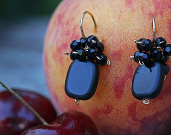 Black confetti earrings