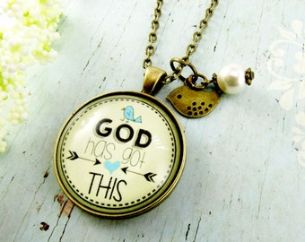 God Has Got This Christian Necklace God Quotes Faith Inspirational Jewelry Pendant Necklace Bird Charm Matthew 6 26