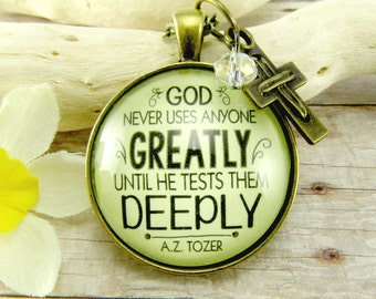Religious Necklace God Never Uses Anyone Greatly Until- Perseverance Christian Saying Vintage Style Encouragement Pendant Don't Quit Jewelry