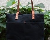 Canvas Tote Bag - FREE Standard Shipping in US - Black - Bridle Leather Handles - Copper Rivets - Unisex - Made in USA