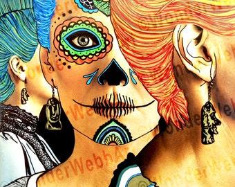 5x5 Aramie en el fondo (Aramie in the background) Sugar Skull Day of the Dead Dia De Los Muertos Art Print