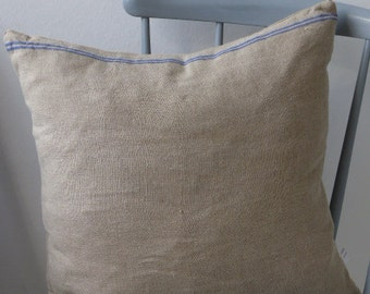 pillow from antique linen: 2 blue stripes 40*40cm