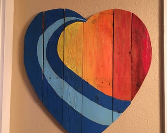 Up Cycled Pallet heart/Wave Sunset