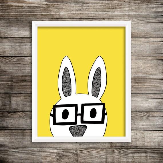 8x10 Nerdy Bunny - Yellow