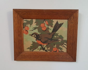 1960's Paint by Numbers Beautuful Robin