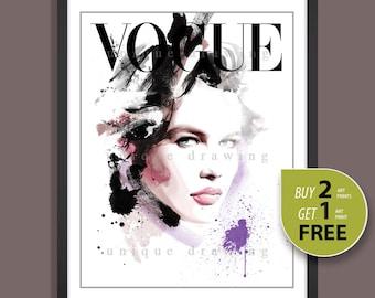 Fashion Illustration, fashion poster, fashion art print, Vogue print, Vogue poster, Vogue cover 90s, Fashion wall art, Claudia Schiffer,3270