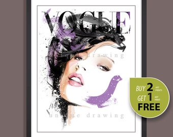 Fashion Illustration, fashion poster, fashion print, fashion art, Vogue print, Vogue poster, Vogue wall art, Fashion wall art,Kate Moss,3272