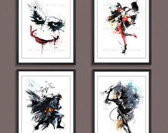 Superhero poster, Superhero print, Batman poster, Batman print, Joker, catwoman, Harley Quinn, Superhero wall art, Set of 4 prints, 3529