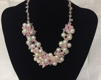 Light Pink Bead and Pearl Necklace
