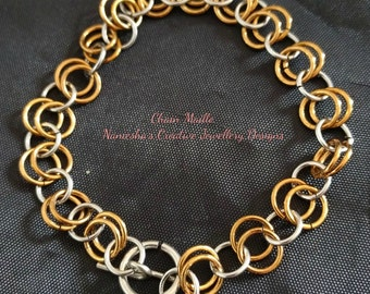 Basic chain maille bracelet, made from copper and steel,includes,sterling silver moon,star.
