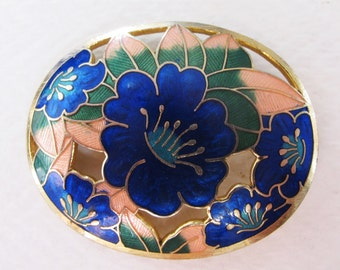 Beautiful Vintage Openworked Closoinne Flower Brooch
