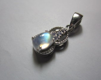 rainbow moonstone and tanzanite pendant ,sterling silver WOOW