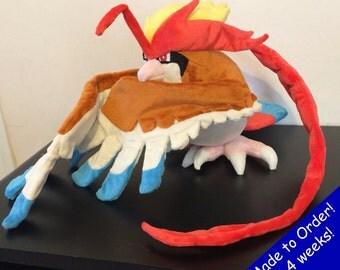 "Mega Pidgeot Handmade Custom Pokemon Plush Poseable Wings! 16"" Long 41"" wingspan!"