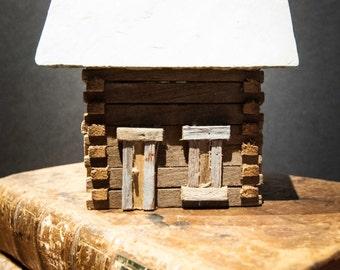 Handmade Vintage Miniature Log Cabin Primitive