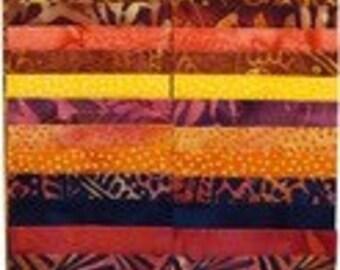 "Island Batik ""Pumpkin Patch"" Strip Set  40 - 2.5 inch strips - jelly roll-purple, orange, pink, yellow-pumpkin Orange"