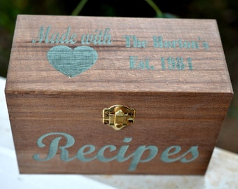 Personalized Recipe Box, Recipe Box, Wedding Gift, Daughter in Law Gift, Son in Law Gift, Recipe Card Box, Bride Gift, Painted Recipe Box