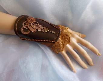 Steampunk Fabric Cuff Bracelet, Steampunk Fabric Cuff, Gold, Copper, Cogs, Beaded