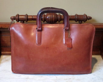 Coach Handle Portfolio Briefcase Laptop Carrier In Burgundy Leather Made In The Factory In NYC-Boxed And Wrapped- VGC-