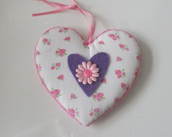 handstitched hanging fabric heart