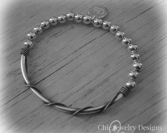 Sterling silver Half Beaded half rope Bracelet