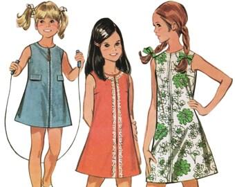 Girls Scooter Dress Girls Mod Dress Pattern McCALLS 9759 sz 12 b 30 1960s Girls Dress Pattern A-line Dress Zipper Dress Girls Summer Dress