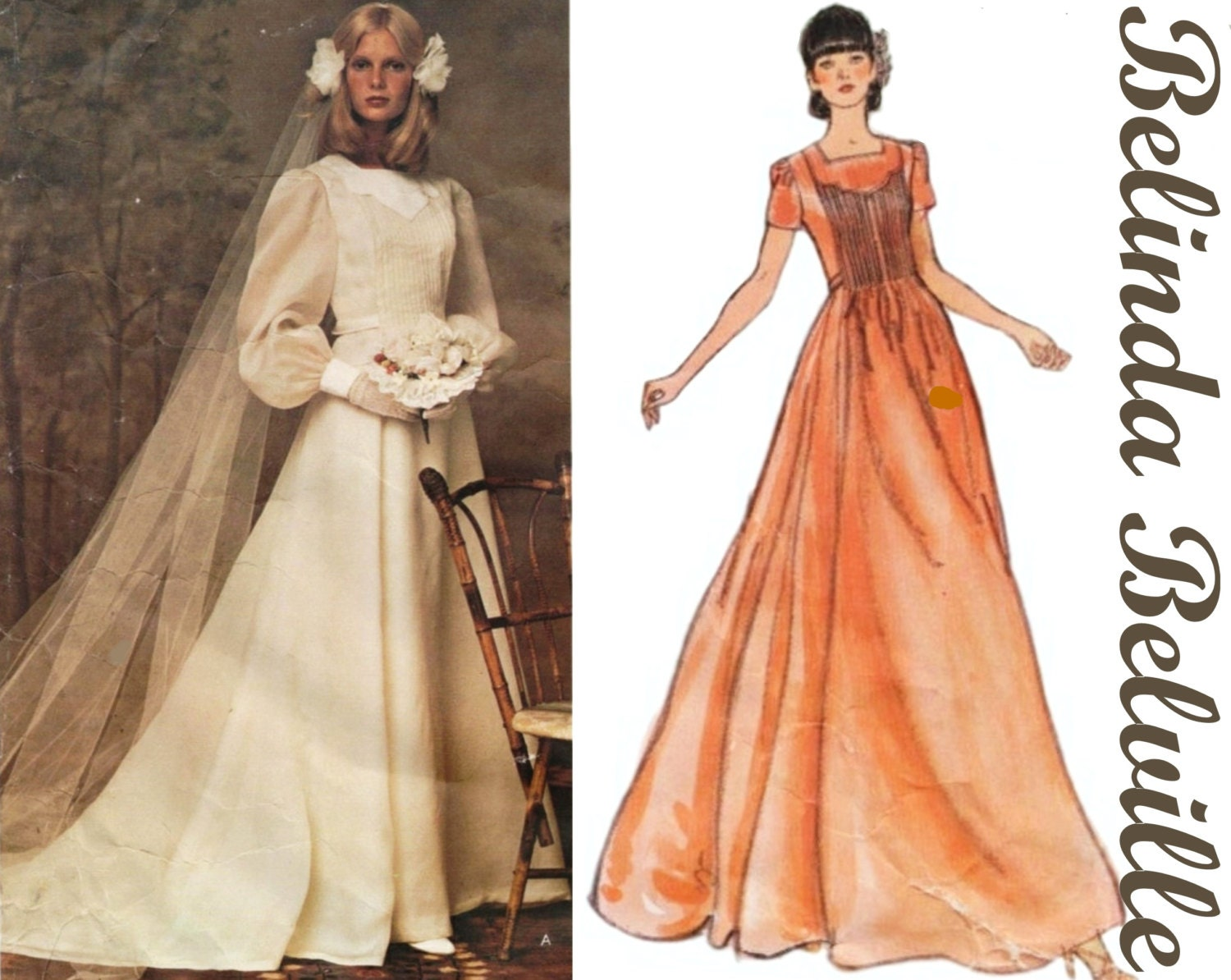 Vintage wedding gown vogue 1155 sz 10 b 325 belinda bellville 70s sold by theperfectpattern ombrellifo Images