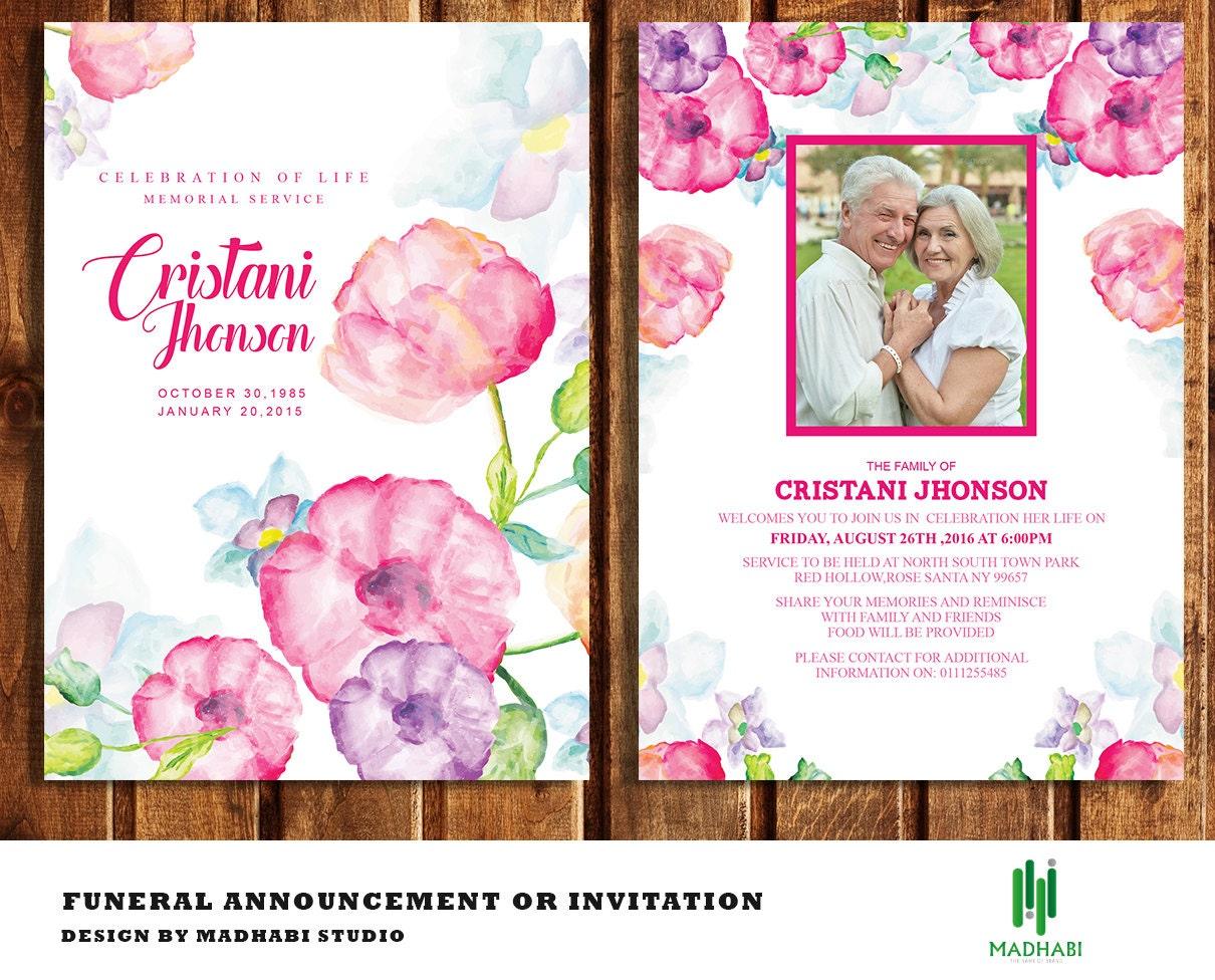 beerdigung einladung oder ankündigung karte 5 x 7 beerdigung, Einladungen