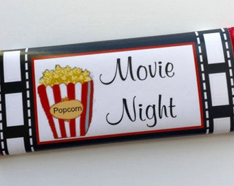 Movie party, movie night, personalized candy bar wrappers, movie birthday party, movie night party invitation, custom candy, personalised